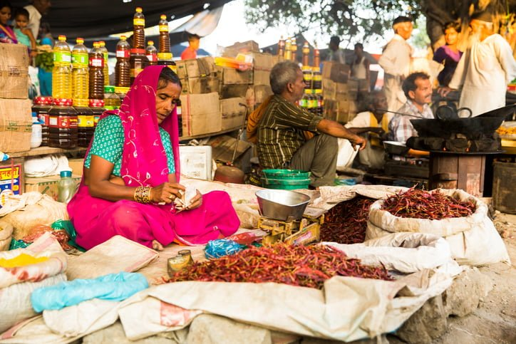 """Baheri, Bareilly, Uttar Pradesh, India, - September 24, 2015: Local vegetable market or """"Bazar"""" in Baheri. Woman counting her income while selling red Pepper Chillies."""