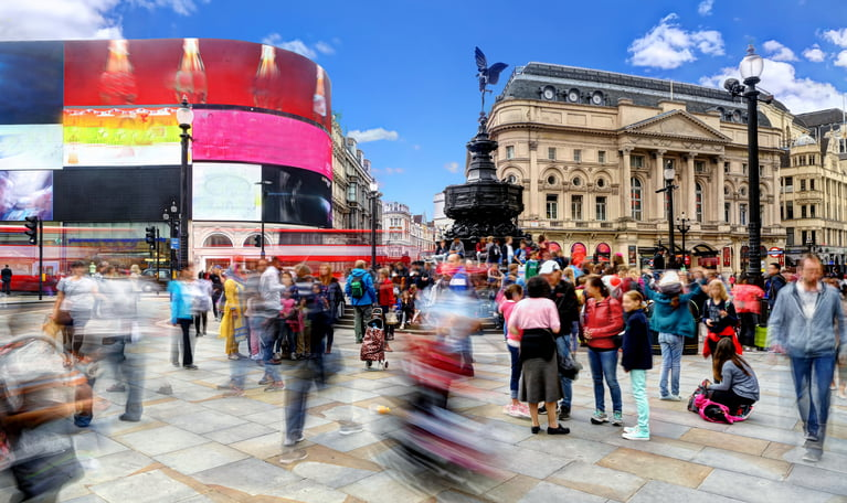 HDR long exposure in the middle of Piccadilly Circus on a busy weekend afternoon in front of the Eros statue.