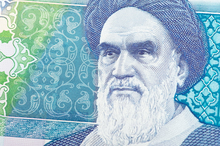 portait of the ayatollah Ruhollah Musavi Khomeini depicted on an iranian banknote.