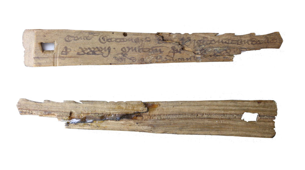 Two corresponding medieval tally sticks