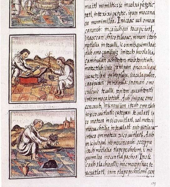 Depiction of various crafts in the Florentine Codex, Book IX