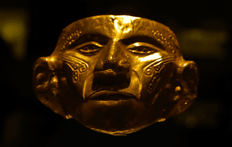 A golden Maya mask. 13th century