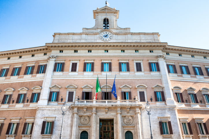 Palazzo Montecitorio is the location of the Italian Chamber of Deputies in Rome, Italy.