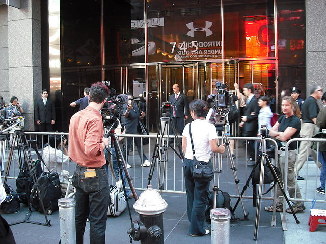 Television cameras outside Lehman Brothers New York offices