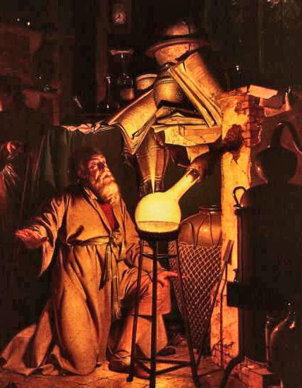 An alchemist in search of the philosopher's stone by Joseph Wright