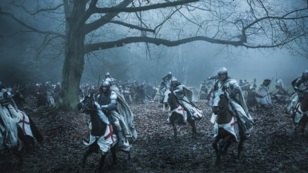 A still from the television series Knightfall which sees the last of the Templar Knights search for the Holy Grail