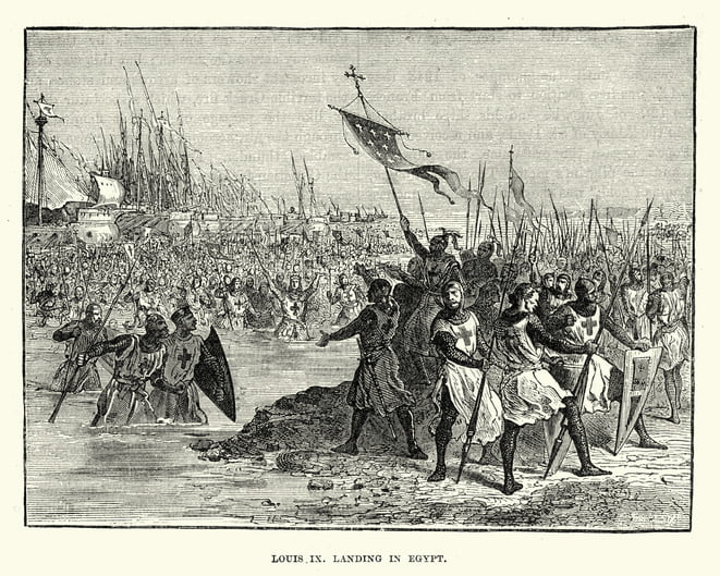 Vintage engraving of Seventh Crusade, Louis IX landing in Egypt. Louis and his followers landed in Egypt on 5 June 1249 and began his first crusade with the rapid capture of the port of Damietta.